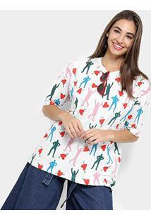 Camiseta T-Shirt Cantão Estampada Feminino - Feminino-Branco