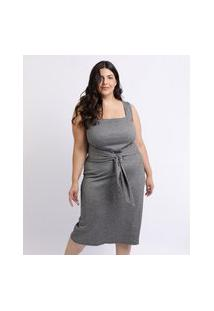 Vestido Feminino Mindset Plus Size Midi Com Faixa Para Amarrar Na Cintura Decote Quadrado Cinza Mescla Escuro