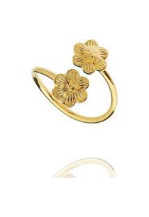 Anel Falange Flores Regulável Dourado