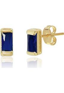 Brinco Piuka Retangular Safira Folheado Ouro Feminino - Feminino-Dourado+Azul