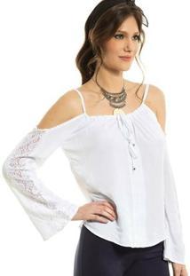 Blusa Ciganinha M/L Evazê Detalhe Em Renda Vitoria B'Bonnie - Feminino-Branco