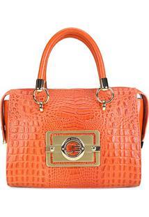 Bolsa Couro Jorge Bischoff Handbag Croco Feminina - Feminino-Coral