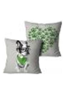 Kit 2 Capas Para Almofadas Decorativas Love Bulldog Verde 35X35Cm