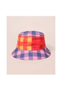 Chapéu Bucket Hat Estampado Xadrez Vichy Color Block Mindset Multicor