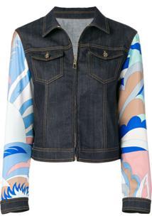 Emilio Pucci Jaqueta Jeans Com Mangas Estampadas - Azul