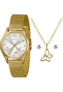 Kit Relógio Lince Feminino Funny Analógico Dourado Lrgj105L-Kx43S2Kx