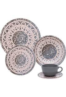 Aparelho De Jantar E Chá Oxford 30 Peças Cerâmica Unni Elo Rosê