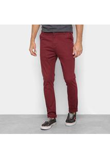 Calça Sarja Danger Color Bolso Faca Cintura Média Masculina - Masculino-Vinho