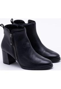 Ankle Boot Cravo & Canela Couro Preta 35