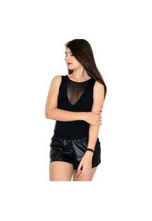 Body Up Side Wear Tule Transparente Preto