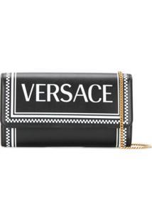 Versace Bolsa Transversal Xadrez Com Logo - Preto