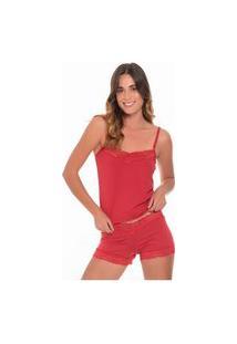 Short Doll Click Chique Alça Pala Rendada Vermelho