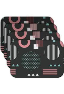Jogo Americano - Love Decor Geometric Pink Kit Com 4 Peças