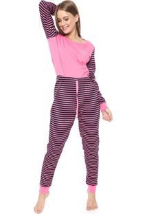 Pijama Malwee Liberta Listrado Pink/Preta
