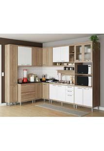 Cozinha Compacta Sem Tampo 9 Peças 5802-S2 Sicília - Multimóveis - Argila Acetinado / Branco Acetinado