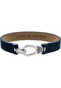 Pulseira Tommy Hilfiger Aã§O E Couro Azul - 2701055