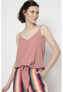 Blusa Lisa Com Amarração- Rosa Claro- Linho Finolinho Fino