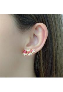 Brinco Ear Cuff Com Zircônias Pink Cravejado Com Mini Zircônias Cristal Banhado Em Ouro 18K