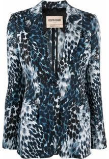 Roberto Cavalli Leopard-Print Blazer - Azul