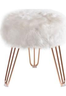 Puff Cloud Base Rose Pele Sintetica Branca 46 Cm (Alt) - 44170 - Sun House