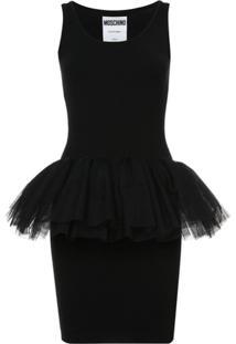 Moschino Vestido Com Tule - Preto