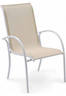Cadeira Empilhável Mestra Móveis Bege/Branco