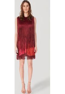 Vestido Tricot Franja Tricolor Vermelho Cabernet - P