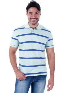 Camisa Polo Listrada Masculina Lift Blue - Verde