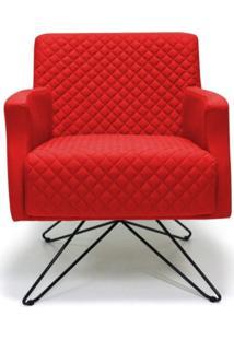 Poltrona Decorativa Diva Base Orby Fixa C173 Vermelho - Domi