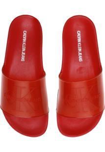 Chinelo Slide Calvin Klein Logo Vermelho