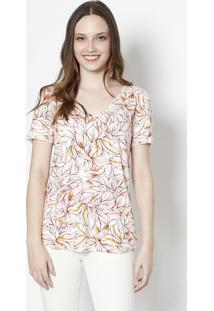 Camiseta Folhagens - Off White & Laranjacanal
