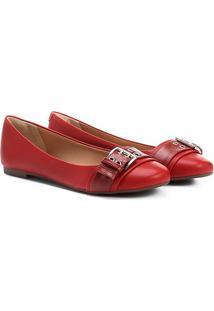 Sapatilha Shoestock Fivela Feminina - Feminino-Vermelho