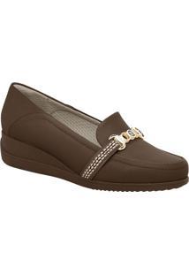 Loafer Anabela Com Aviamentos- Marrom Escuro & Dourado