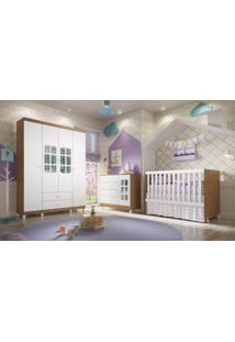 Dormitório Gabi / Guard. Roupa 4Pts / Cômoda / Berço Gabi Amadeirado