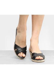 Tamanco Anabela Shoestock Corda - Feminino-Preto
