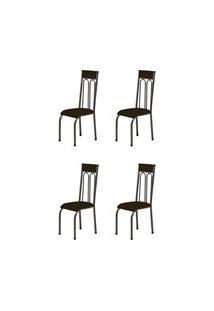 Kit 4 Cadeiras Anatômicas 0.120 Estofada Craqueado/Marrom Escuro - Mar