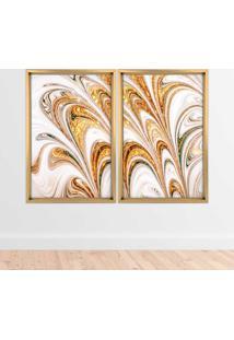 Quadro Com Moldura Chanfrada Mármore Abstrato Dourado Madeira Clara - Médio