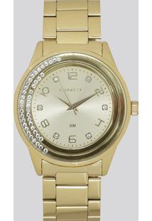 Relógio Analógico Lince Feminino - Lrg4360L-C2Kx Dourado - Único