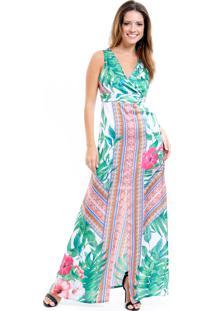 554864bab Vestido Longo 101 Resort Wear Festa Estampado Crepe Verde