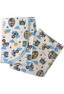 Cobertor Minasrey Menino Reininho Branco E Royal