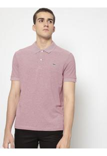 Polo Regular Fit Listrada- Vermelha & Off Whitelacoste
