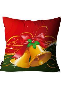 Capas Para Almofada Premium Cetim Mdecore Natal Sino Vermelha 45X45Cm