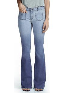 Calça Feminina Hering Em Jeans Flare Degradê