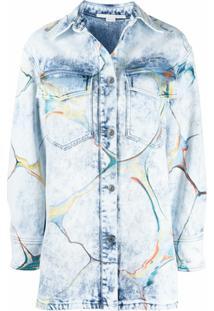 Stella Mccartney Jaqueta Jeans Com Estampa Marmorizada - Azul