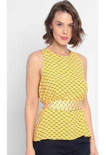 Blusa Floral Com Faixa - Amarela & Preta- Lança Perflança Perfume