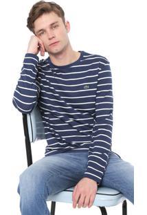 Camiseta Lacoste Listrada Azul-Marinho/Branca