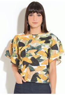 Blusa Quintess Folhagem Modelagem Ampla