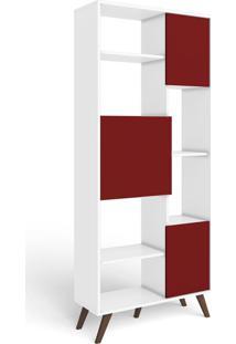 Estante Para Livros 3 Portas 3 Prateleiras Retrô Mm Rt 3039 Branco/Vermelho - Móvel Bento