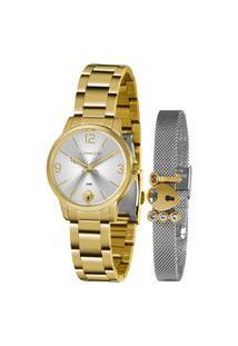 Kit Relógio Feminino Lince Analógico Dourado - Lrg4682L-Kn18S2K Dourado
