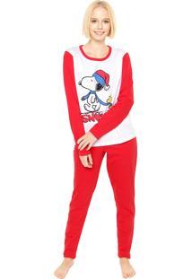 Pijama Bela Notte Snoopy Branco/Vermelho